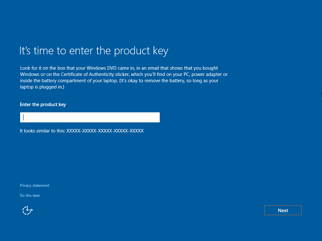 reinstall windows 10 no product key